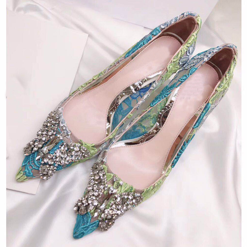 2018 New Spring Summer Shoes Woman Shalllow Pumps Pointed Toe Lace High Heels Pumps Designer Crystal Butterfly Pumps Party S