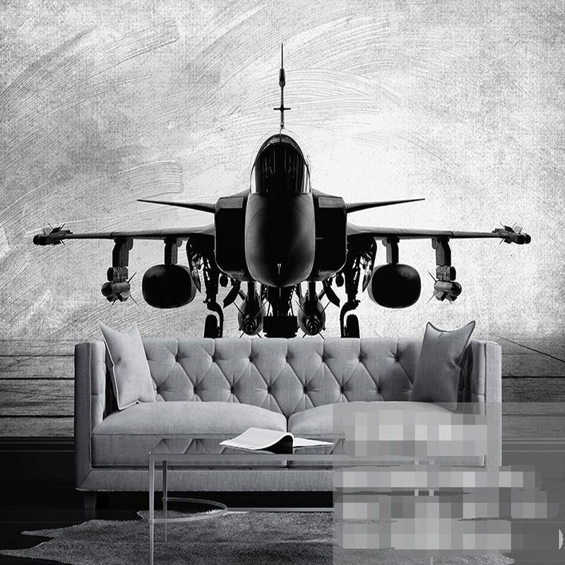 Black White Hand Painted Aircraft Fighter Large Murals Custom Living Room Study Bedroom Decor Wall Mural Wallpaper Modern