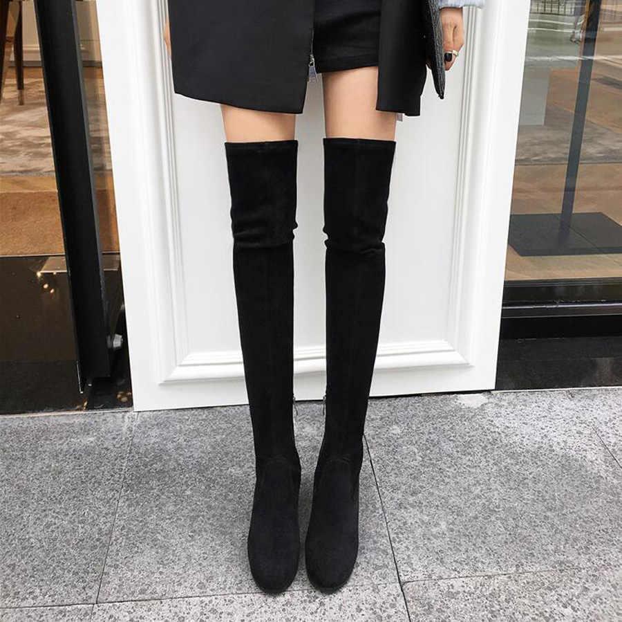 Prova Perfetto สีม่วงสีดำ suede ต้นขาสูงรองเท้าผู้หญิง 2018 ฤดูหนาวรองเท้าสตั๊ดคริสตัลสแควร์ heel รอบ toe ยืดยาวรองเท้า