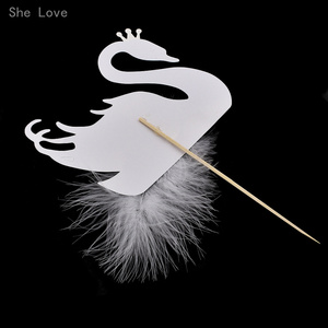 Image 3 - Chzimade 5pcs Cupcake Topper Picks Swan Crown Feather Wedding Party Cake Decoration Supplies
