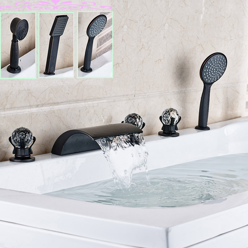 Widespread 3 Crystal Handles Bathtub Faucet Tap 5 pc Waterfall Tub Sink Mixer Taps Deck Mounted Oil Rubbed bronze Finish