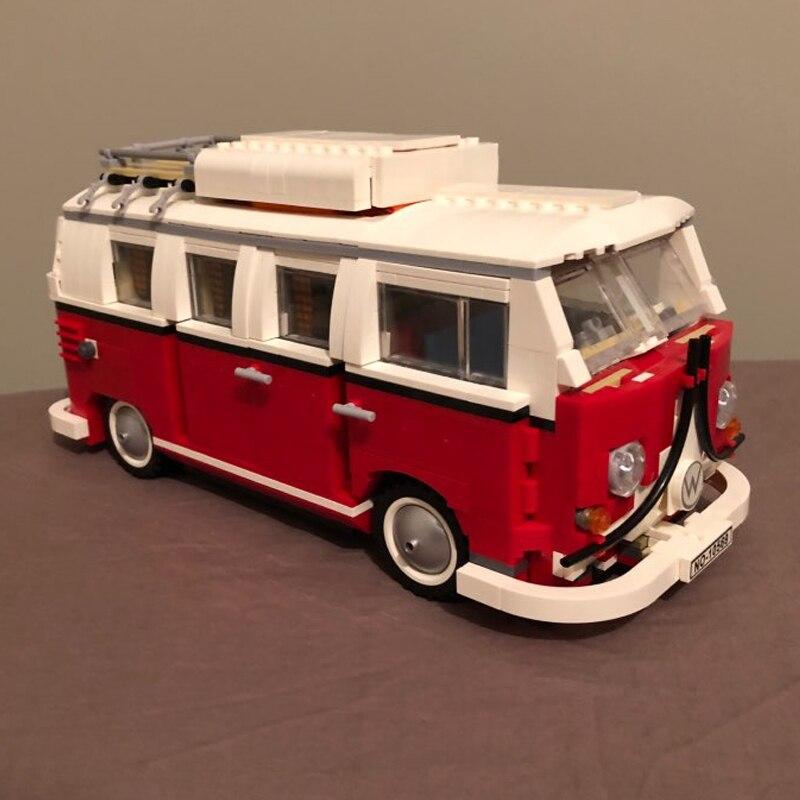 building bricks 21001 1354Pcs Create Series Creator Volkswagen T1 Camper Van Model Building Kit Blocks Bricks Toys 10220