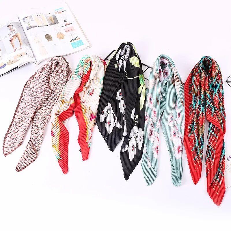 Multi design wrinkle fashionable women kerchief neckwear pleated square scarf headwear bag tie 2018 new Foulard Bandana LL190418