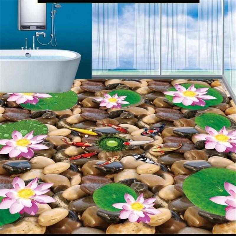 beibehang papel de parede custom 3D nine fish lotus flower stone floor painting ceramic tile flooring hotel wallpaper mural beibehang trees year full of water porcelain bathroom kitchen floor painting waterproof self adhesive papel de parede wallpaper