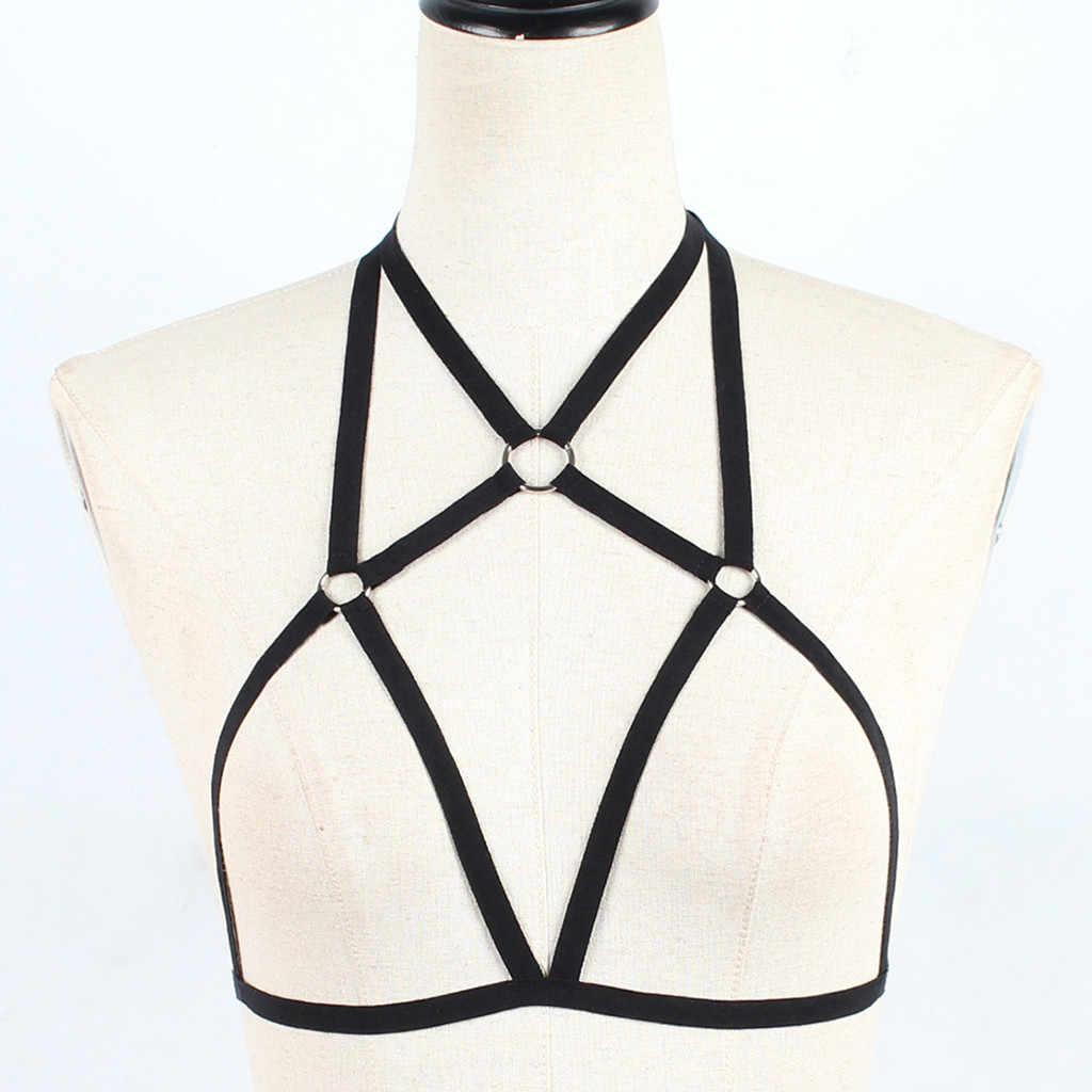 Biustonosz dla kobiet czarny ciała uprząż Sexy bielizna elastan Harajuku pastelowe Gothic Pentagram klatka biustonosz Bondage biustonosz # T3