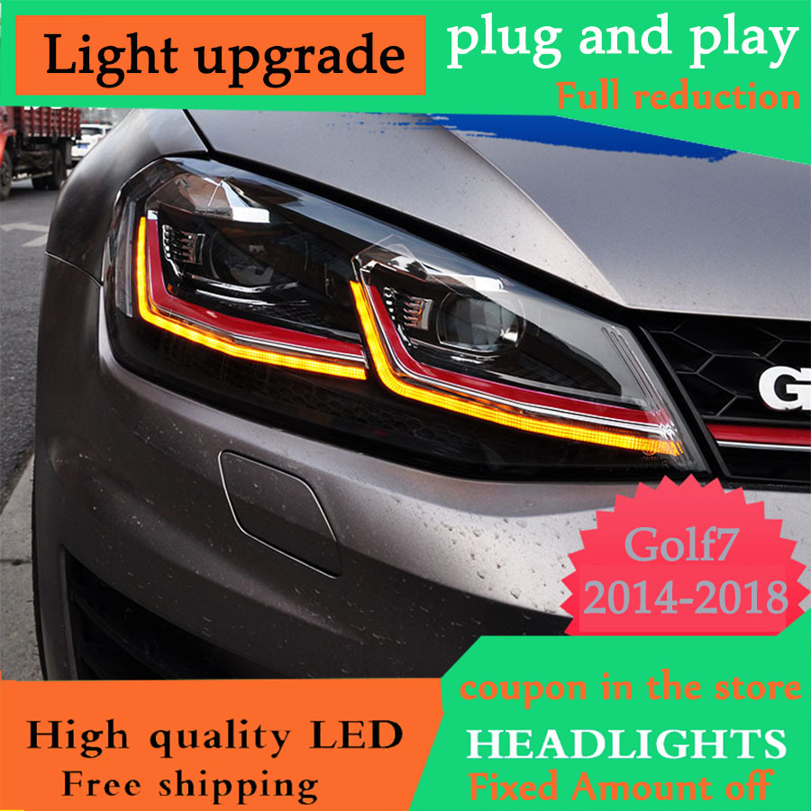 D YL Car Styling Head Lamp case for VW Golf7 Golf 7 Headlights Golf 7 MK7