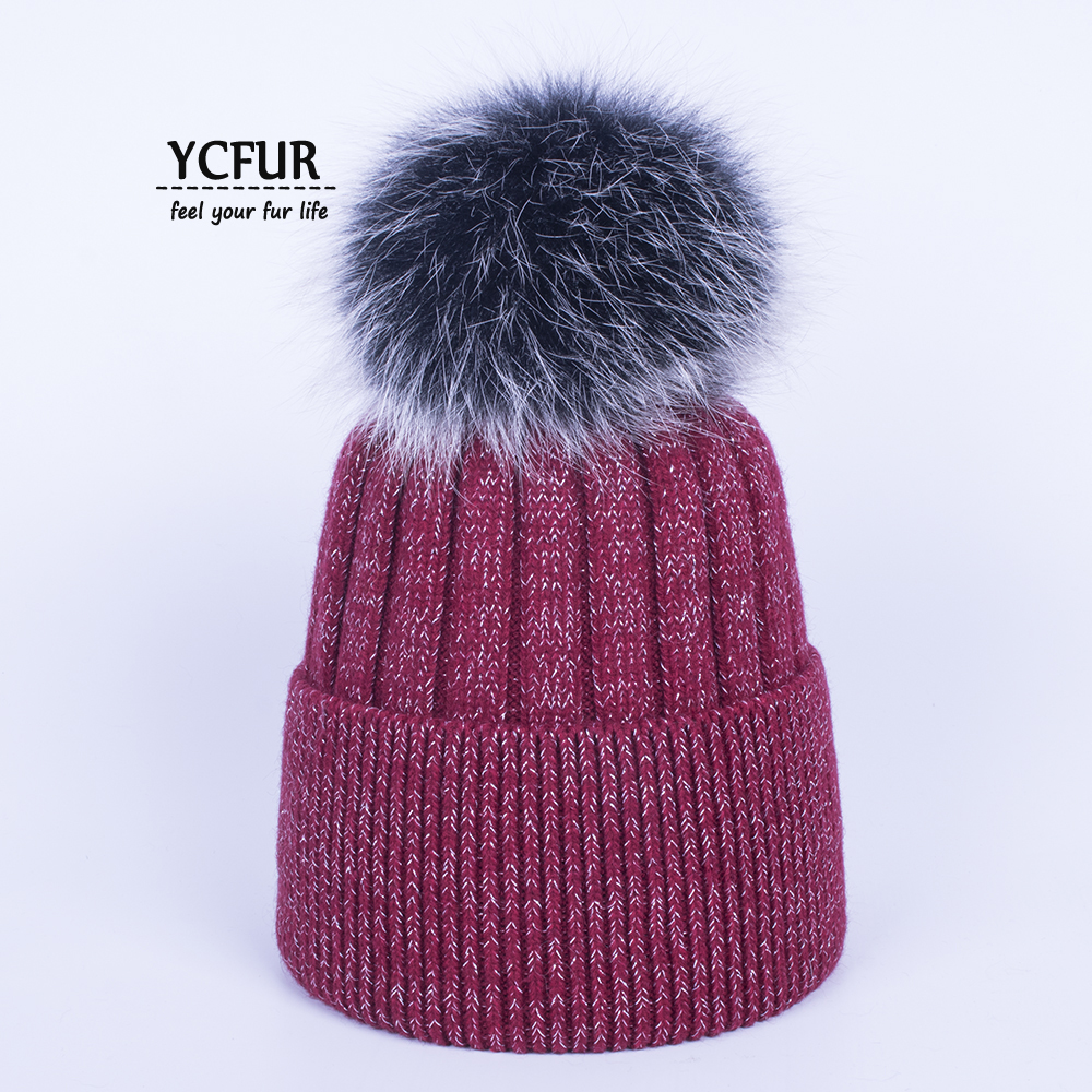 YCFUR Women Beanies Hats Winter Knitted Sheep Wool Hats Caps With Real Fur  Pom Hat Cap For Women Cute Girls Hat Beanie Female b4ca3af9f0b