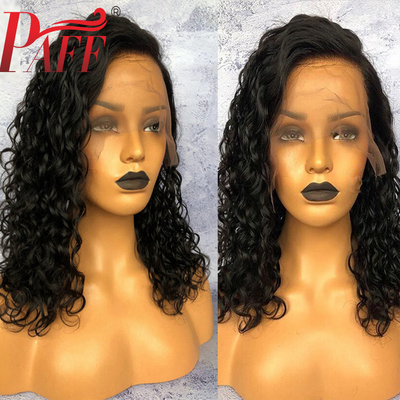 PAFF Short Curly Human Hair Full Lace Wig 4*4 Silk Base Glueless 180% Desnity Remy Brazilian Silk Top Pre Plucked Hairline