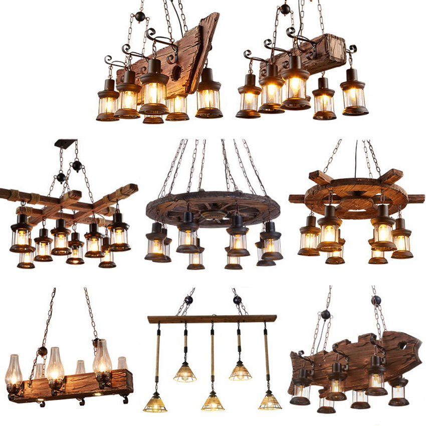 Nordic LOFT Retro Bar Industrial Wind Pendant Lamp Solid Wood Chandeliers Personality Old Boat  Wood Hanglamp Lighting Luminaire