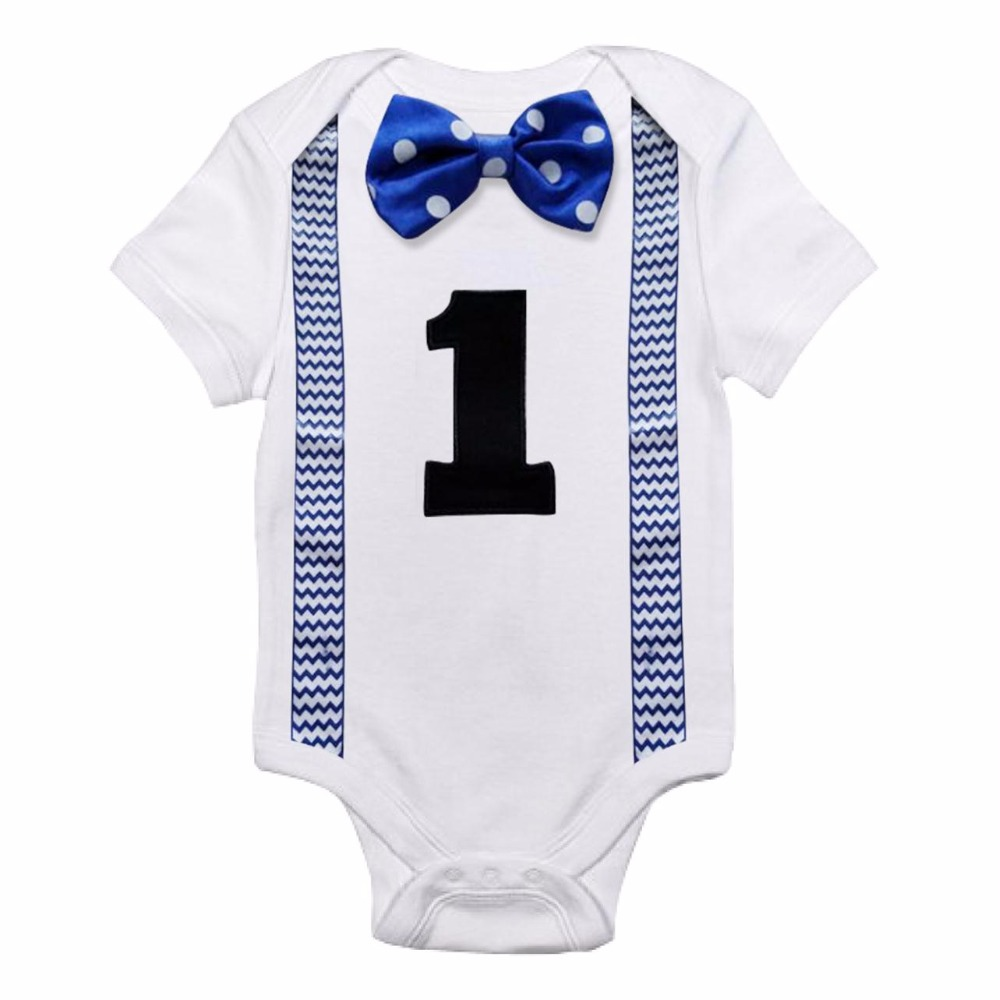 My One Newborn Baby Boy Clothes for Baby Romper Jumpsuit Suspenders ...