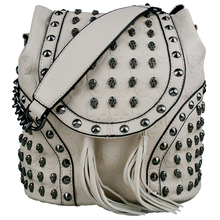 Мода 2016 года женская дизайнерская искусственная кожа черепа заклепки рюкзак сумка с заклепками рюкзак, рюкзак