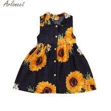 b1992bf0da ARLONEET Roupas Da Criança Do Bebê Meninas Girassol vestido Estampado  menina miúdos vestidos para meninas 4 para 5 traje da prin.
