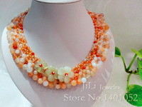 Red Agate With Jade Flowers Jade Toggle Clasp 18 Inch Collar Necklace With Earing Free Shipping