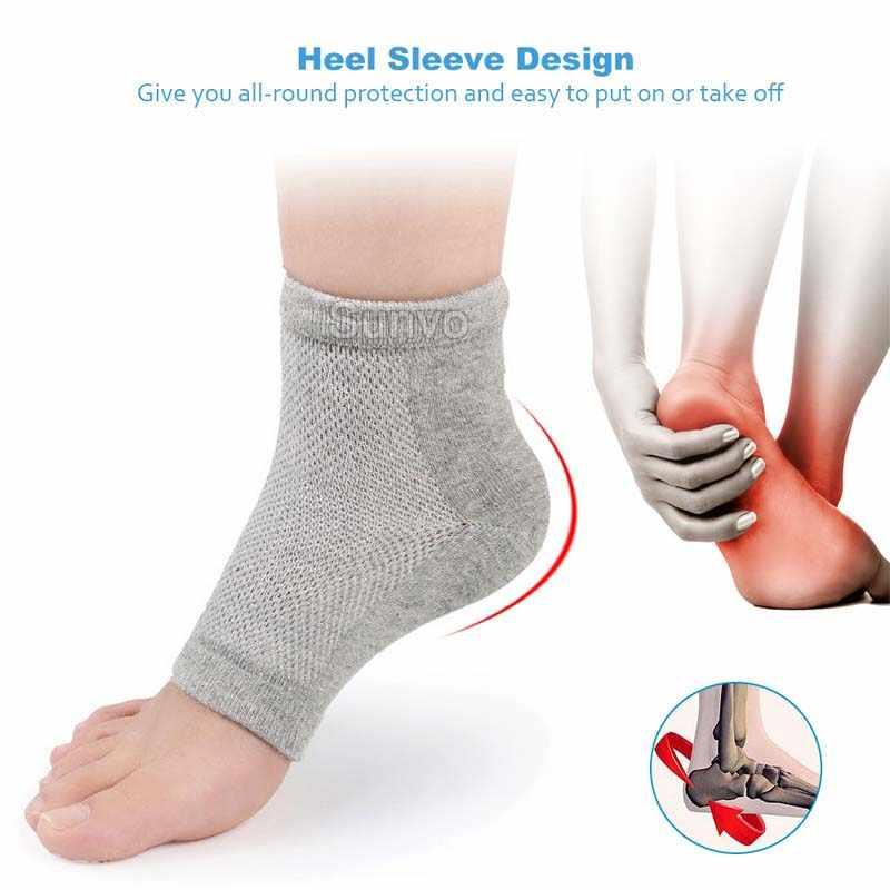 Sunvo Gel de silicona manga del talón pedicura hidratante calcetines piel agrietada spa humectante almohadillas Cuidado del pie tobillo calcetín insertos almohadilla