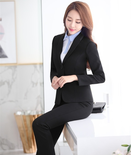 Plus Size 4XL Profissionais Terninhos Formais Com Estilos de Jaquetas E Calças Outono Inverno Senhoras OL Calças Das Mulheres de Negócios Conjunto