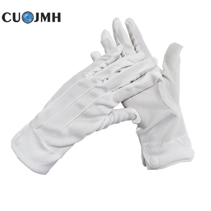1 Double White Formal Gloves Security Driving Work Mitten Garden Gloves Comfortable Wear Resistant Garden Cotton Formal Gloves 1 double cotton gloves white green