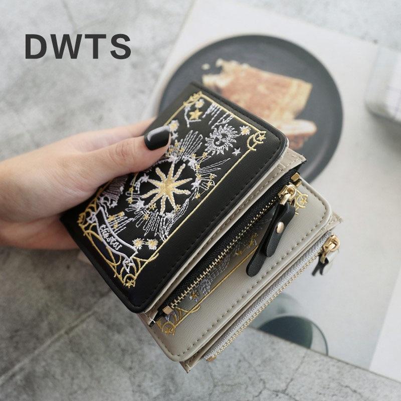 2018 New Wallet Female Short Purse Two Fold Ladies Wallet European Style Embroidery Fashion Student Carteira Feminina