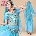 Árabe chiffon 120D moedas de ouro mulheres dança do ventre 3 pcs e 4 pcs conjunto de dança do ventre profissional roupas terno T-5056