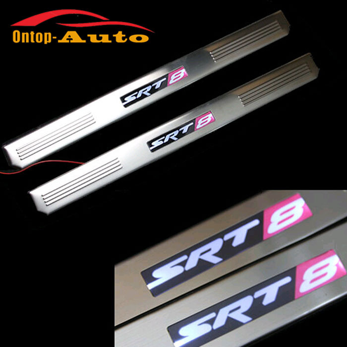 SRT8 style Illuminated LED Door Sill Scuff Plate Guard Protector For Jeep Cherokee 2011-2014 free shipping kia sportage 2011 scuff plate door sill new 4pcs