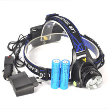 EU Hot  Head light Head lamp Cree XM-L T6 led 3800LM rechargeable Headlamps Headlights lamp +2×18650 Battery+ EU+ Car charger
