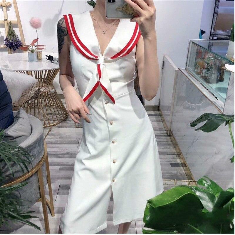 TVVOVVIN femmes robe col marin sans manches simple boutonnage longue robe élégance taille haute mince mince robes d'été 2019 V272