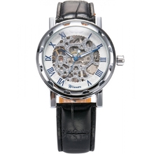 Brand WINNER Skeleton Silver Stainless Case Roman Numeral White Hand-Winding Mechanical Analog Mens Leather Wrist Watch / PMW028