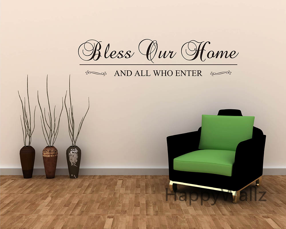 bless our home and all who enter family quote wall stickers decorating diy  family lettering quote wall decal custom colors q.