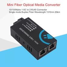 Оптоволоконный мини преобразователь 2 RJ45 в 1 SC, Коннектор 100 Мбит/с, оптоволоконный медиа конвертер, одномодовый дуплексный 10нм, 20 км