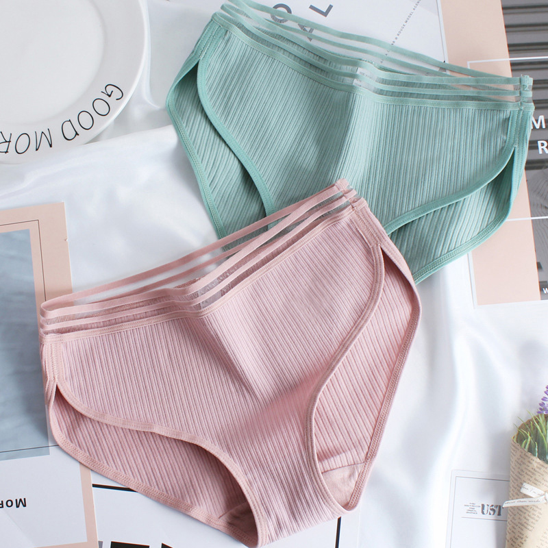 Female Seamless Underwear Women's Cotton Briefs Sexy Girl Middle Waist   Panties   Bamboo Fiber Women Lace Edge Breathable Briefs