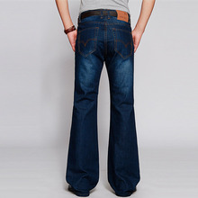 High Quality Autumn and winter Unisex pants high waist loose big horn jeans denim trousers horn