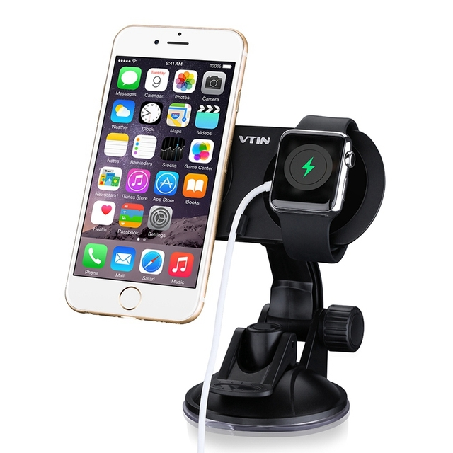 Dual Car Magnetic Holder Windshield Dashboard Universal Car Cradle Made of Aluminum for iPhone and Apple Watch