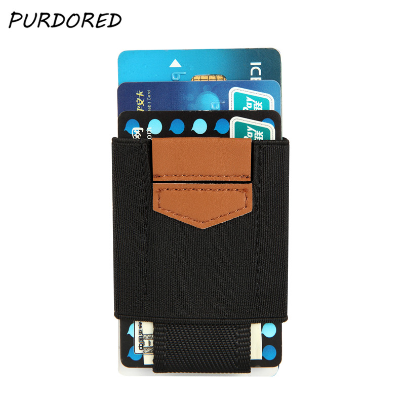 PURDORED Slim Wallet Organizer Card-Holder Badge Credit Minimalist Elastic Business ID