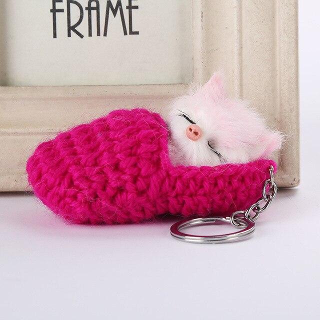 Gato bonito Do Sono Pompom Chaveiros Para Mulheres Meninas Sapatos de Tecido Feito À Mão Falso Pele De Coelho Fofo Gatinho Chaveiro da Chave Do Carro anéis