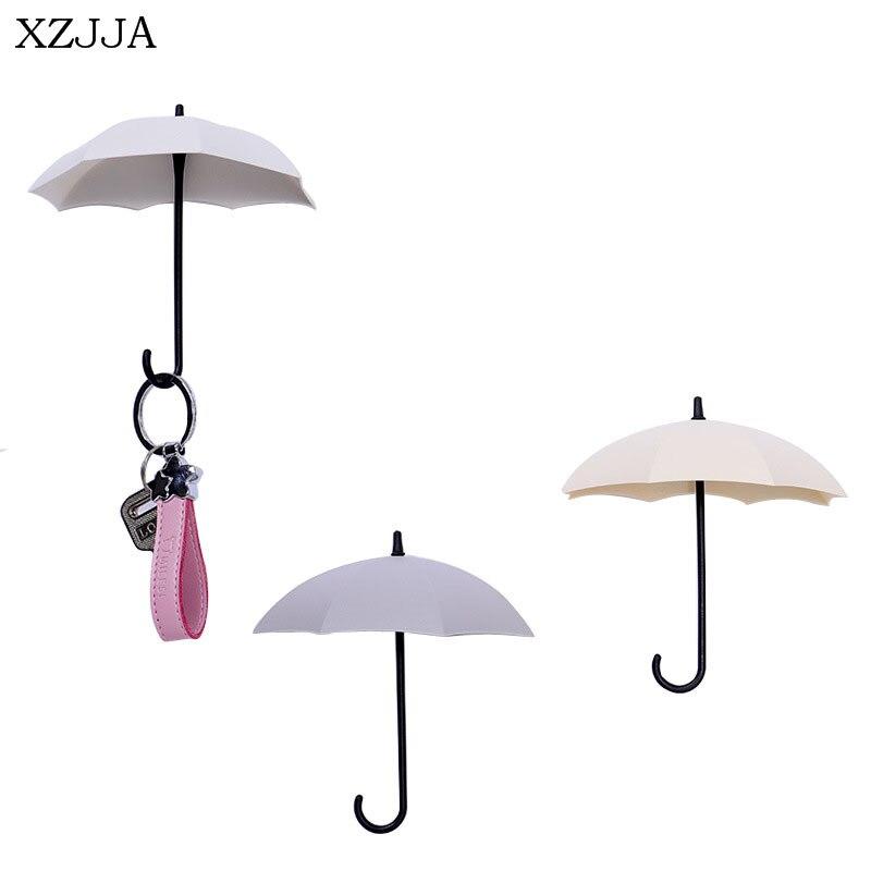 XZJJA 3PC Creative Umbrella Decorative Hooks Self-Adhesion Dual Purpose Keys Hook Bathroom Kitchen Small Objects Storage Holder