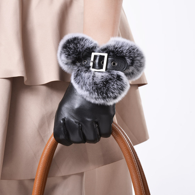 2016 lady new Female fall winter fashion rex rabbit hair nager genuine leather gloves sheepskin buckle  fur wrist cuff mittens
