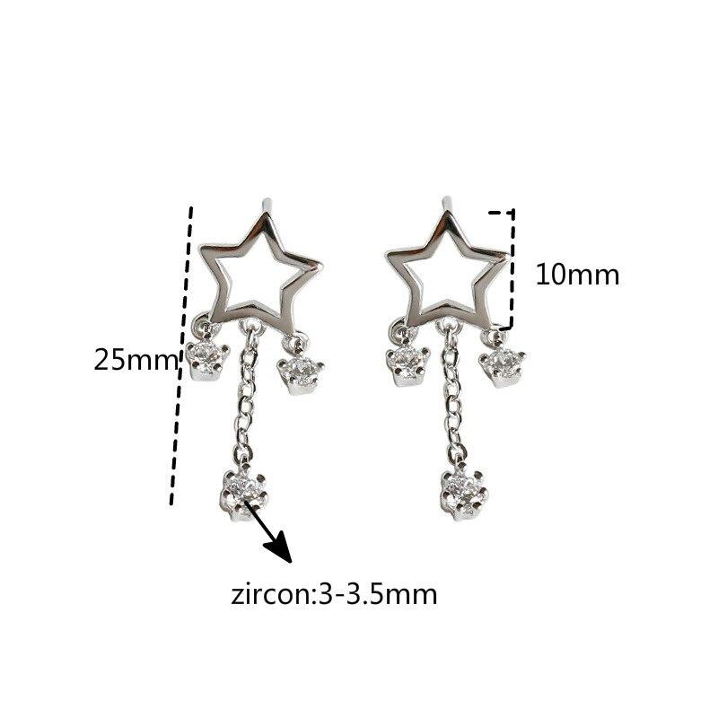 Flyleaf 925 Sterling Silver Earrings For Women Hollow Star Tassel Zircon Femme Simple Dangle Drop Earings Fashion Jewelry Party in Earrings from Jewelry Accessories