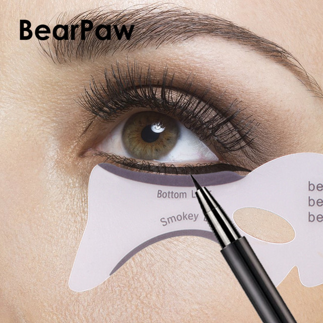 BearPaw 2PCS/Set Eyeliner Stencil Kit Model for Eyebrows Guide Template Shaping Maquiagem Eye Shadow Frames Card Makeup Tools 3