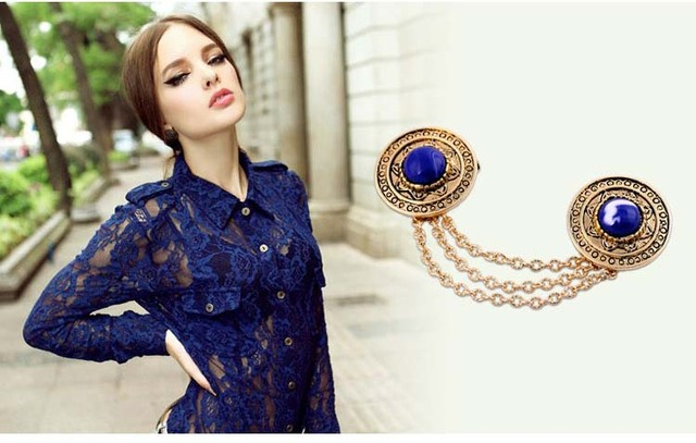 New Fashion Jewelry Shirt Neck Chain Tassel Round Pins brooch vintage Tassel personality Brooches women Jewelry Gift