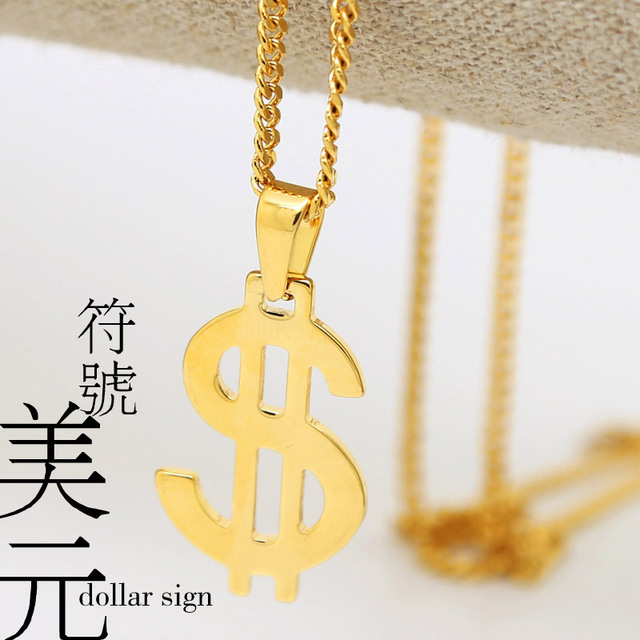 NEW Dollar sign pendants necklace 60cm Long Gold plated High Quality Fashion Hiphop Chain necklaces men jewelry bijouterie