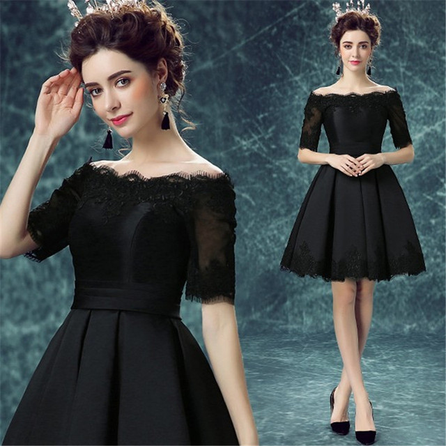2017 New Design Vestido Black Lacesatin Short Girlyoung Lady