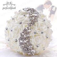 Perfectlifeoh งานแต่งงานช่อดอกไม้ White Bridesmaid Bridal Bouquets ประดิษฐ์กุหลาบช่อดอกไม้ช่อดอกไม้สำหรับคู่แต่งงาน