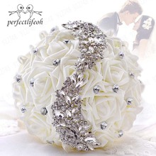 perfectlifeoh Wedding Bouque flowers White Bridesmaid Bridal Bouquets artificial Rose  Bouquet wedding flowers bridal bouquets