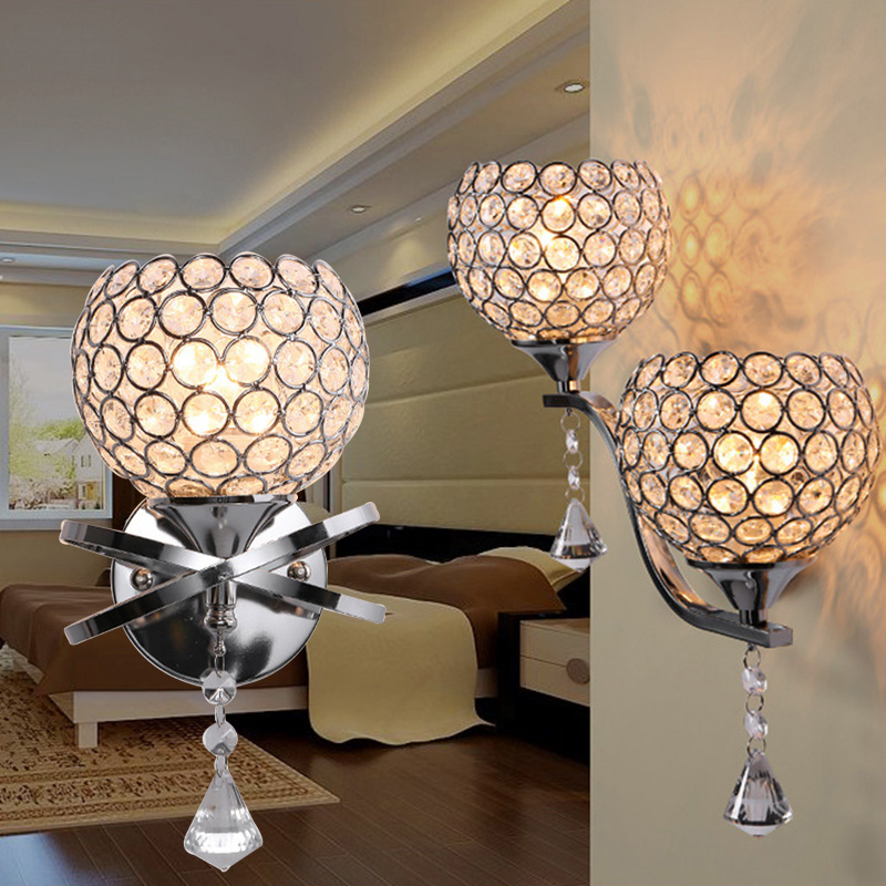 LAIMAIK Crystal Wall Lamp E27 BASE Bedroom Stair Lamp Crystal Wall Light Silver/Gold Without LED E27 Lamp Wall Light For Bedroom