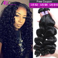 Cheap 4 Bundles Malaysian Loose Wave Virgin Hair 8A Grade Unprocessed 100% Human Hair Weave Malaysian Loose Curly  Virgin Hair