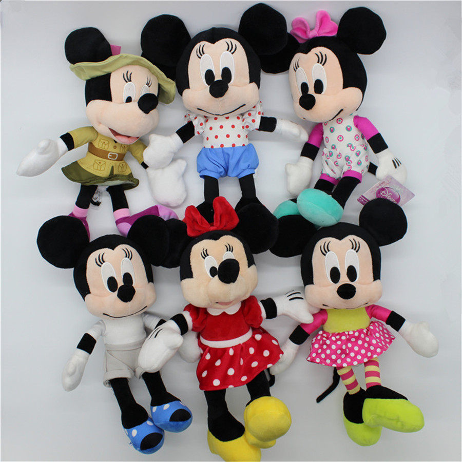 1pcs Minnie Mouse Plush Soft Toys Engineer Minnie Mouse Brinquedo Baby Soft Doll