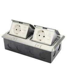 Quadrado duplo/pop up/liga de alumínio dois bits plugue Europeu na rede telefônica tomada chão DD-002