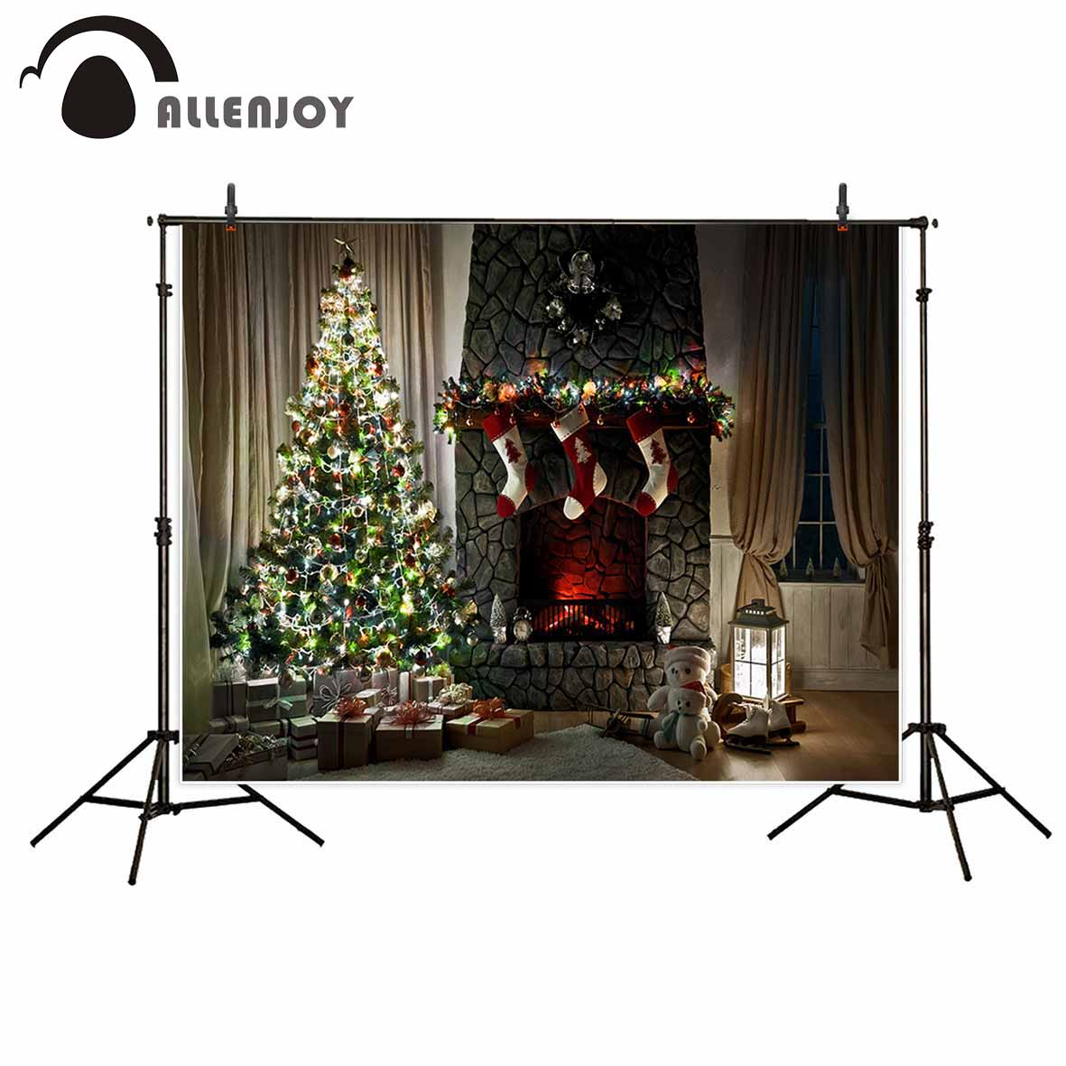 Allenjoy photography backdrop Christmas glitter fireplace tree stone room background photocall photo prop original design