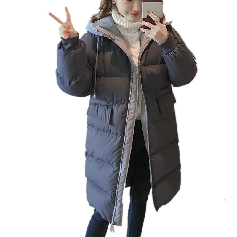 Warm Thicker Winter Jacket Women   Parka   Down Cotton Coat BF Style Long Jacket Outerwear Hooded Casual Loose Jacket Coats Q1072