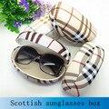 Venta caliente de la manera caja grande gafas de sol para las mujeres suglasses case plaid duro caja de cristal de alta calidad de cuero