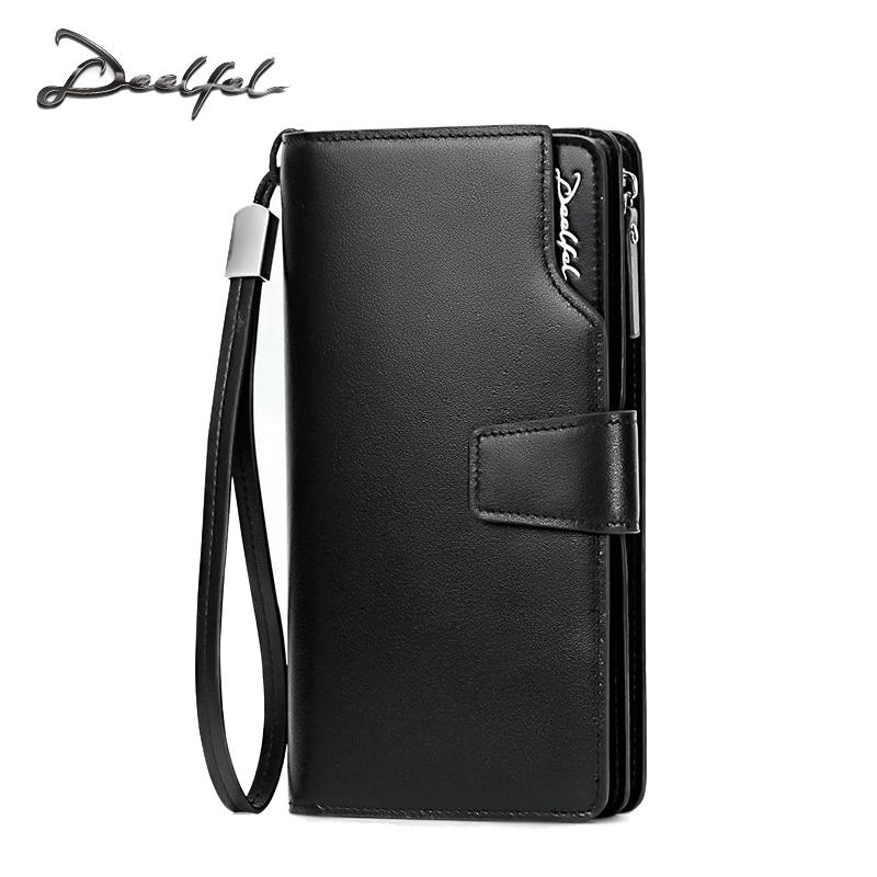 цена на DEELFEL 2017 New Mens Wallets Genuine Leather Coin Wallet Simple Business Long Wallets Men Purse Card Holder Zipper Pocket